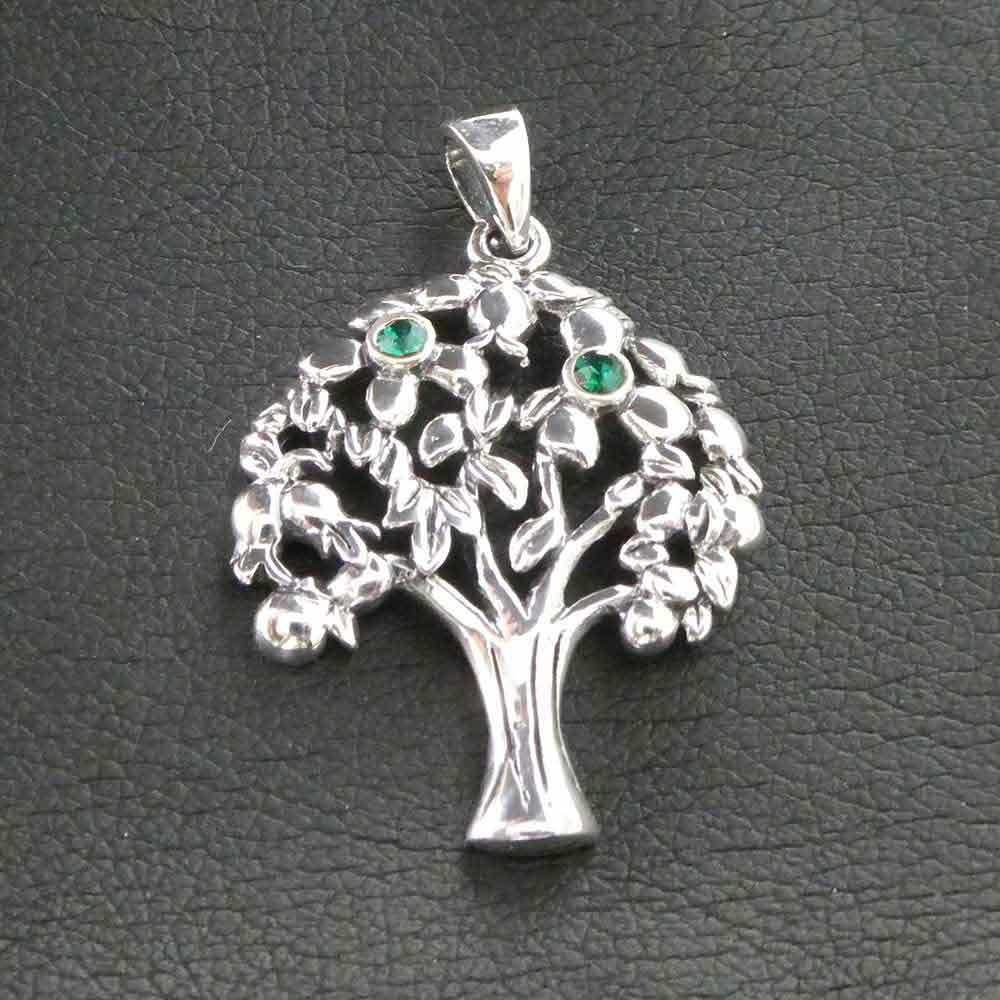 Anhänger Ø ca 24,9mm Baum Lebensbaum 925 Sterling Silber Zirkonia Silberanhänger