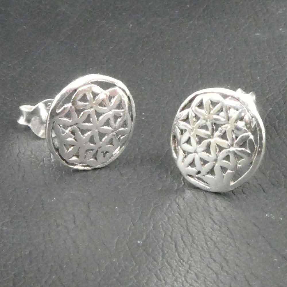 Cabochon Ohrstecker Silber 10mm Blume des Lebens No2