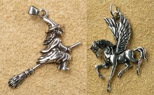 Hexe Silberschmuck Anhänger mystisch