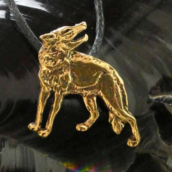 Wolf Kette Anhänger Bronze Schmuck