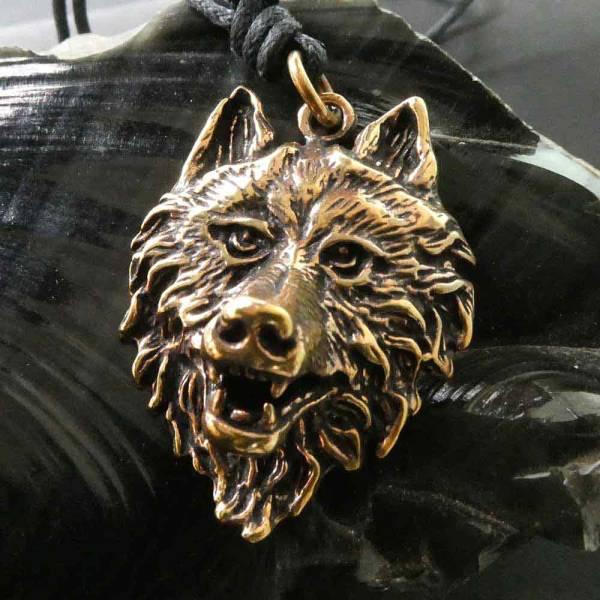 Wolf Anhänger Kette Schmuck Wolfskopf
