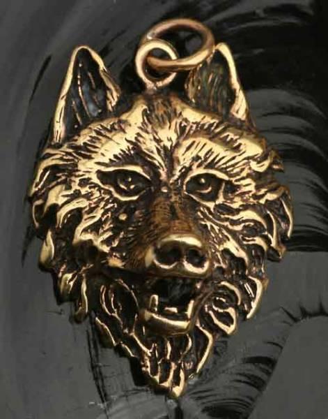 Wolf Bronze Schmuck Wolfskopf