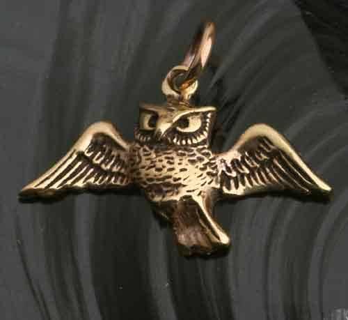 Eule fliegend Bronze Schmuck Anh