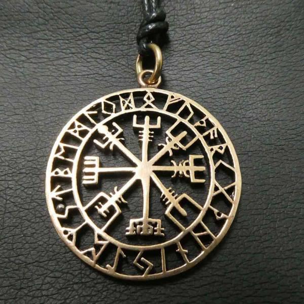 Wikinger Schmuck Kompass Vegvisir Bronze