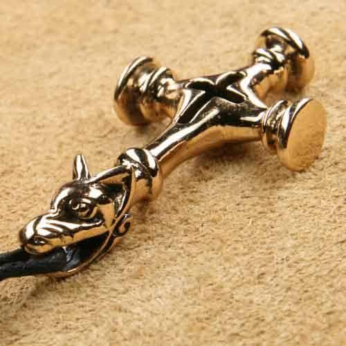 Wolfskreuz Schmuck Anhänger Kette Bronze