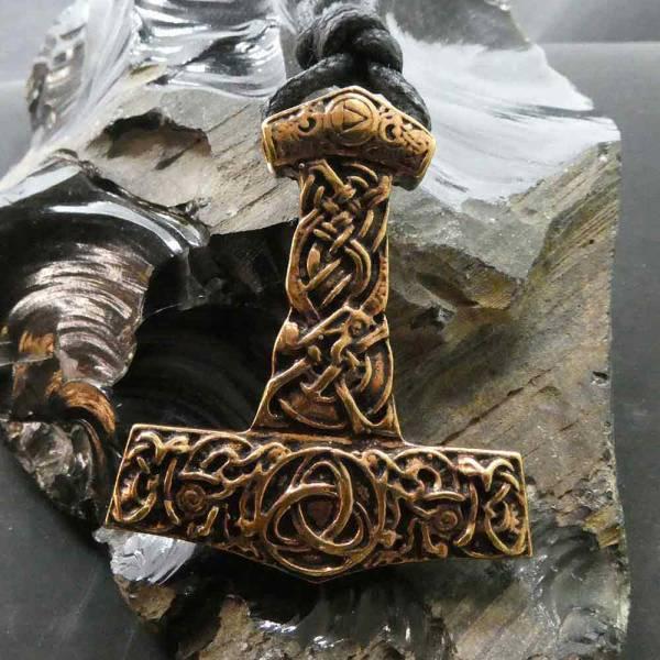 Thorshammer Kette großer Schmuck Anhänger Bronze
