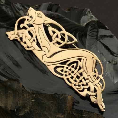 Bronze Brosche Celtic Dog