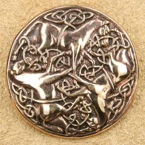 keltische Pferde Brosche Bronze Mittelalterschmuck
