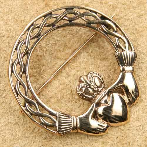 Claddagh Schmuck Brosche Bronze Mittelalterschmuck