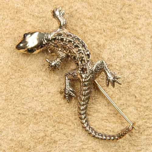 Gecko Schmuck Brosche Bronze