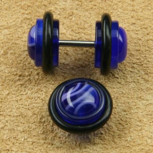 Fake Plug Edelstahl blau melliert