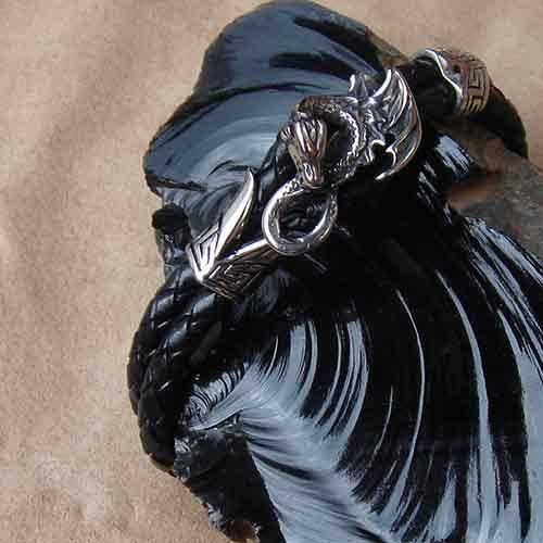 Drachen Armband Leder Edelstahl