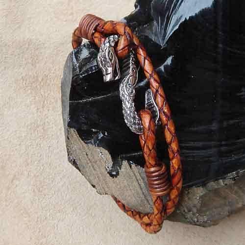 braunes Drachen Armband Leder Edelstahl