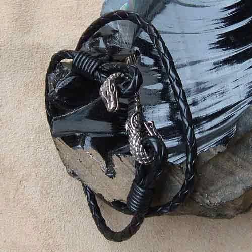 Drache Leder Armband schwarz