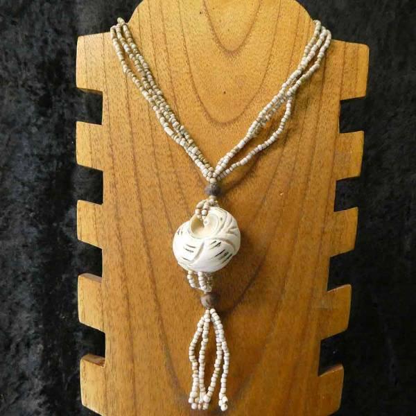 Feine Muschel an Glasperlen Halskette