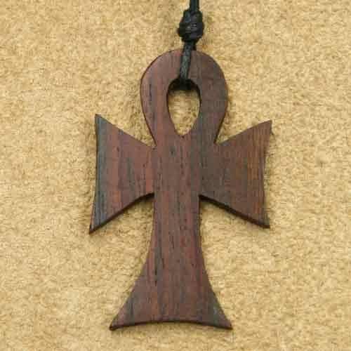 Ankh Kettenanhänger aus Holz