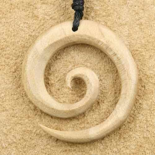 Kettenanhänger Spirale Holz weiß