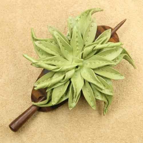 Holz Haarspange mit Leder