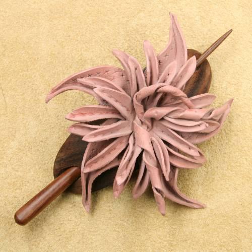 Haarspange Leder Blume rose Haarschmuck