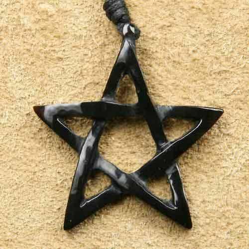 Pentagramm geschnitzt Horn Schmuck