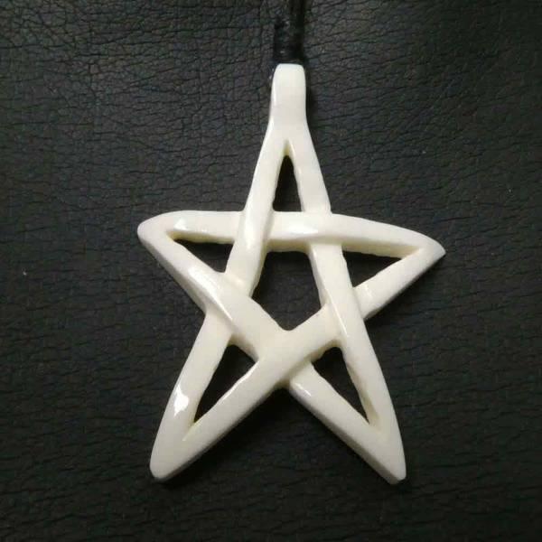 offenes Pentagramm Schmuck aus Knochen