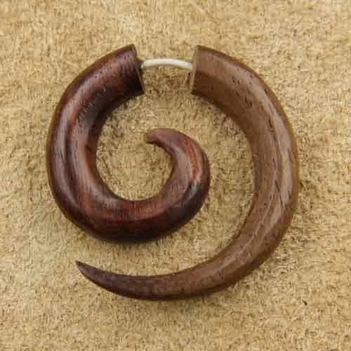 Fake Piercing Spirale Holzschmuck