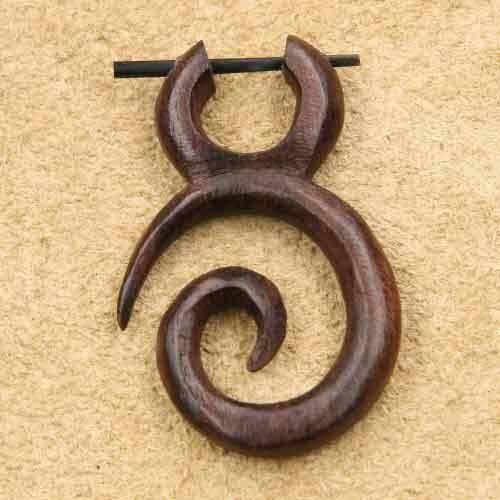 Ohrschmuck Spirale lang Holzschmuck