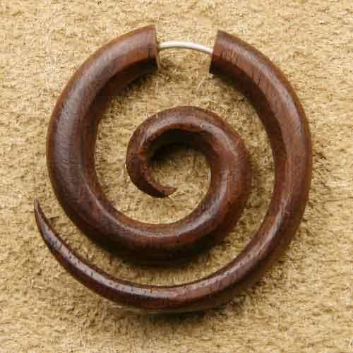 Fakepiercing Holz Spirale M