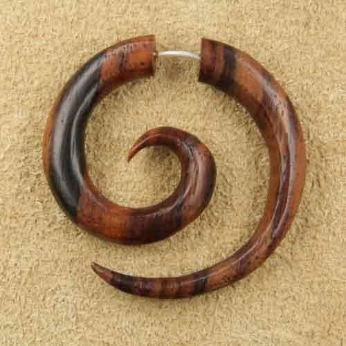Spirale Ohrschmuck Kringel Holz