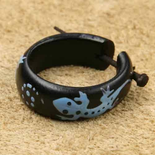 Creole Gecko blau Holz Ohrschmuck Ohrring