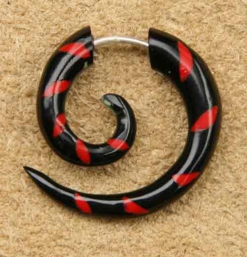 Fake Spirale 2.5cm Horn rot Ohrschmuck