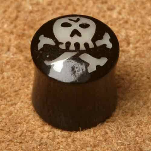 Horn Plug Totenkopf 12mm Flesh Tunnel Piercing