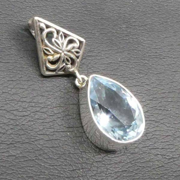 Blauer Topas außergewöhnlicher Anhänger Silber
