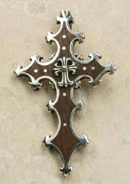 Kreuz Gothik Schmuck Holz Silber