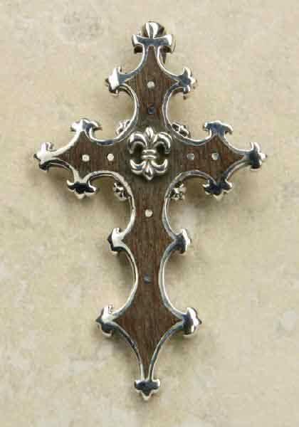 Kreuz Mittelalterlilie Holz Silber