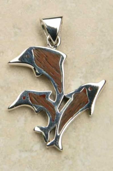 Holz Silber Delfin Anh