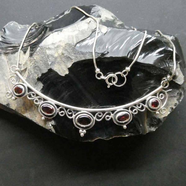 Granat Collier Silber edel