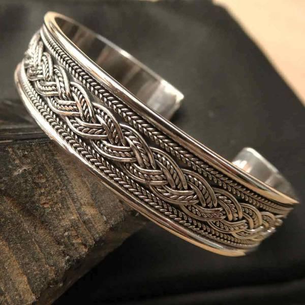 breiter Armreif 925 Silber Knoten Muster Armschmuck Herren