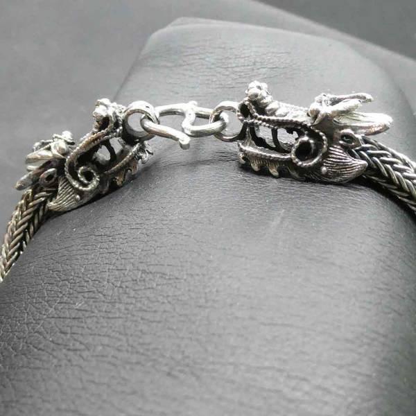Drachen Armband Silber edel ausgefallen geflochten