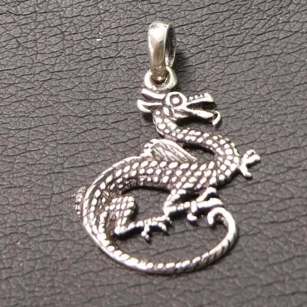Feiner Drachen Schmuck Anhänger Silber