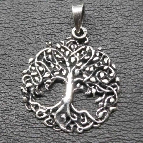 Lebensbaum Silber Anhänger Baum mit Blätter