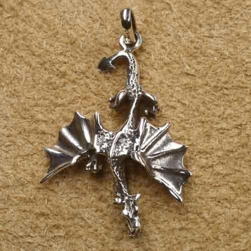 Drache fliegend Schmuck Anhänger Silber