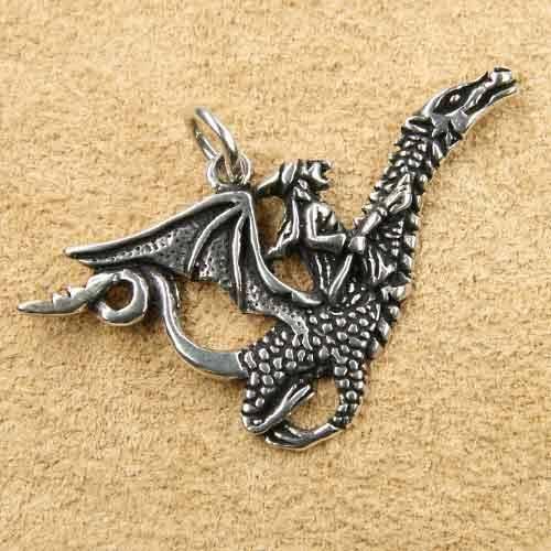 Hexe Schmuck Silber Hexe auf Drachen