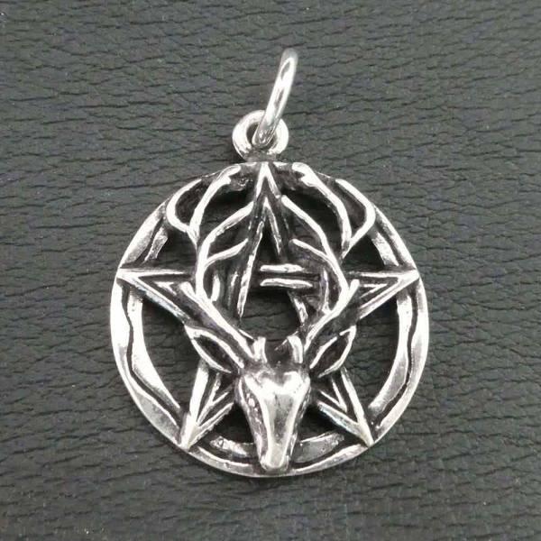 Pentagramm Hirschkopf Silber Schmuck Anhänger