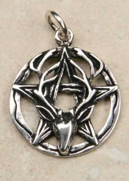 Pentagramm mit Hirschkopf Silber Schmuck Anh