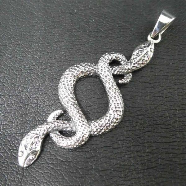 Zwei Schlangen 925 Silber Schmuck Anhänger