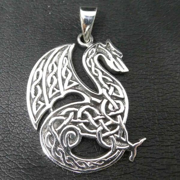 Drache Keltisch Schmuck Silber Kettenanhänger mit Keltenknoten