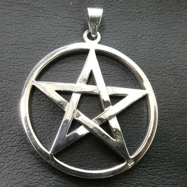 Pentagramm Schmuck Anhänger Silber massiv schwer