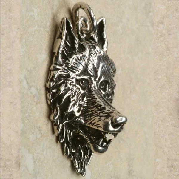 Wolf Schmuck Silber Anhänger