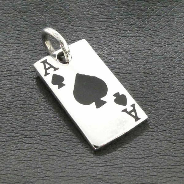 Pik Ass Spielkarte Silber Anhänger
